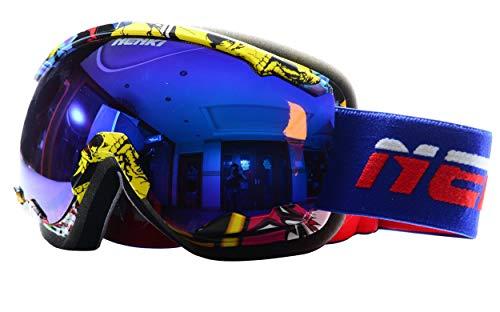 NENKI Skibrille NK-1006 & NK-1007 Für Herren, Damen mit 100% UV-Schutz Anti-Beschlag-Brillenglas, Schneemobil, Snowboard (Weiß Blaues Rot)