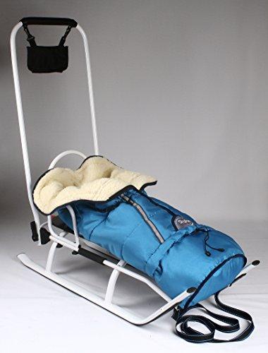 3in1 Kinder Schlitten mit Rückenlehne, Fusssack, Schiebegriff und Gurt aus Aluminium (Blue+white)
