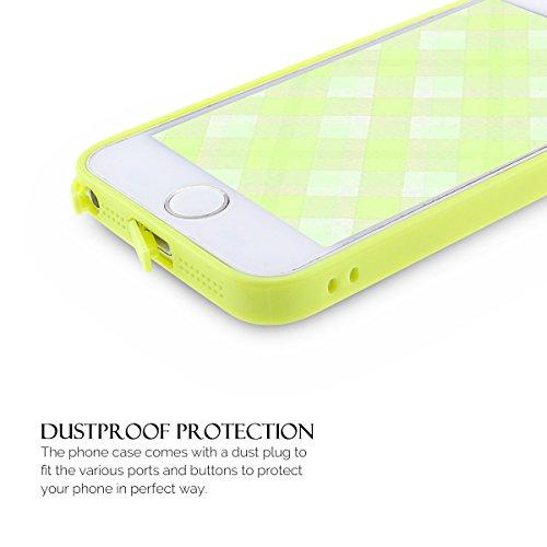 Coque iPhone 5S , Coque iPhone SE , Anfire Etui Souple Flexible en Premium TPU Apple iPhone SE / 5S / 5 Ultra Mince Gel Silicone Transparent Clair Housse de Protection Soft Crystal Case Cas Couverture Jaune Citron