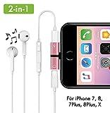 2-in-1 Lightning Kopfhörer Adapter für iPhone 7/8, 7/8 Plus, X/10 Kopfhörer und Laden Dual Lightning Adapter Splitter Musik hören und gleichzeitig Aufladen roségold (rosé)