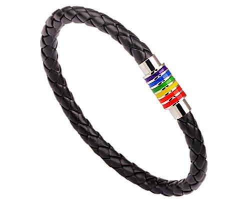 Preisvergleich Produktbild ILOVEDIY Unisex Leder Armband Gay Pride LGBT Homosexuell Pride (Schwarz mit Silber)
