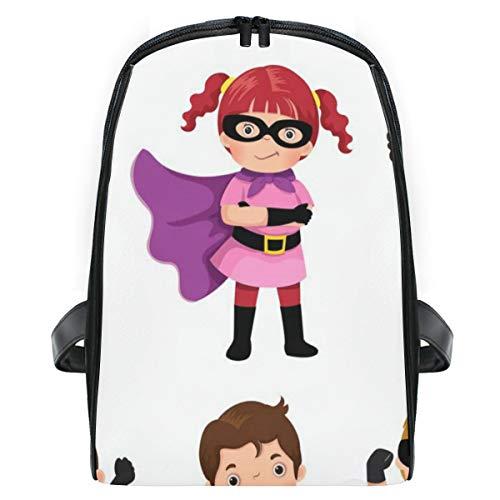 ELIENONO Jungen-Mädchen-Superheld-Kostüme auf Weiß,Laptop Rucksack für Männer