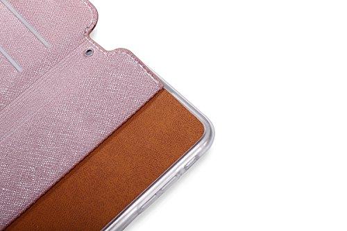 ISAKEN Custodia iPhone 7, iPhone 7 Flip Cover con Strap, Elegante Sbalzato Embossed Design in Pelle Sintetica Ecopelle PU Case Cover Protettiva Flip Portafoglio Case Cover Protezione Caso con Supporto Vine: rose gold