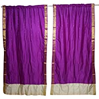 Mogul Interior Indian Sari Curtain Brocade Border Pink Window Treatment Drape Panel Home Decor
