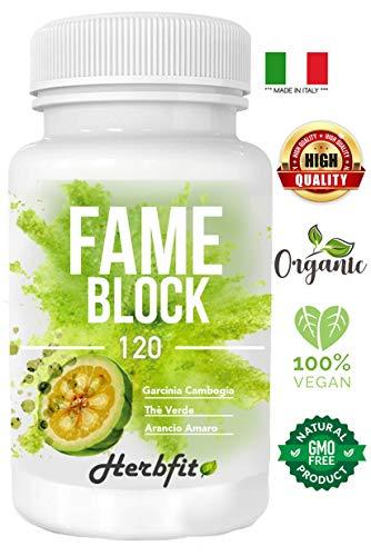 herbfit fame block | 120 compresse dimagranti forti e brucia grassi efficaci | perdipeso per perdere chili velocemente | termogenico eccezionale e riduttore di appetito | senza caffeina senza glutine