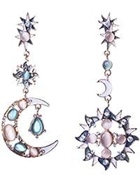 QIYUN.Z Sun Moon carcasa Forever para mujer diseño de pendientes largos con forma larga Juego de pendientes de piedra de ópalo de perforadas
