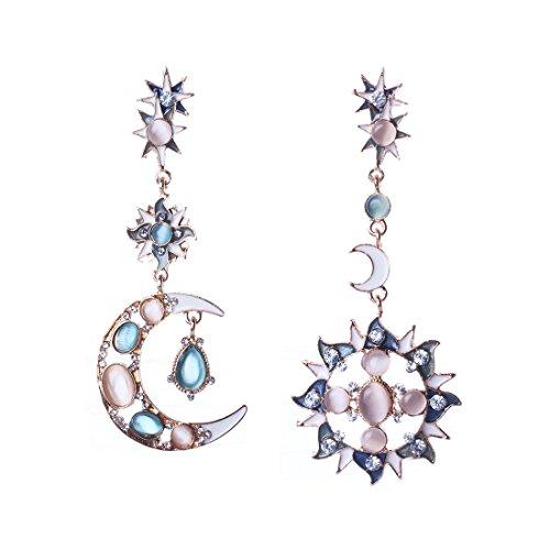 Sun moon donne brillanti per sempre progettare orecchini opale pietra lungo ciondola trafitto orecchini