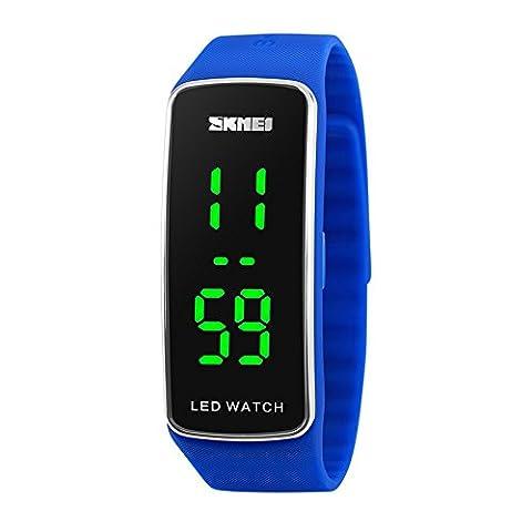 XLORDX LED Kinder Herren Unisex Uhr Sportuhr Wasserdichte Digital Armbanduhr Blau (Sportuhr Herren Blau)