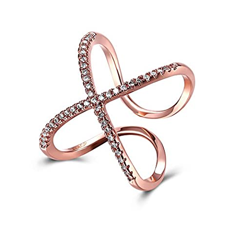 FJYOURIA Adjustable Size Open Thumb Ring 18ct Rose Gold CZ