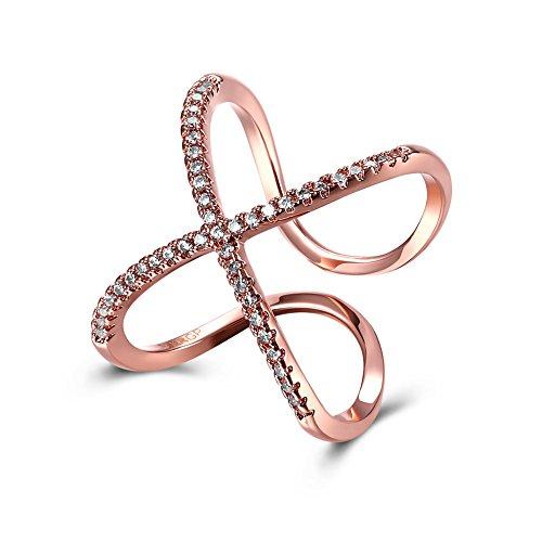 Fjyouria donna anelli anello per pollice aperto regolabile in oro rosa 18 carati cz