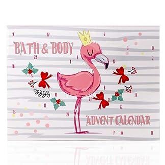Calendario de Adviento de Accentra, flamenco para niñas, con 24 productos de baño, cuidado corporal y accesorios para una variada y mimosa época de Adviento