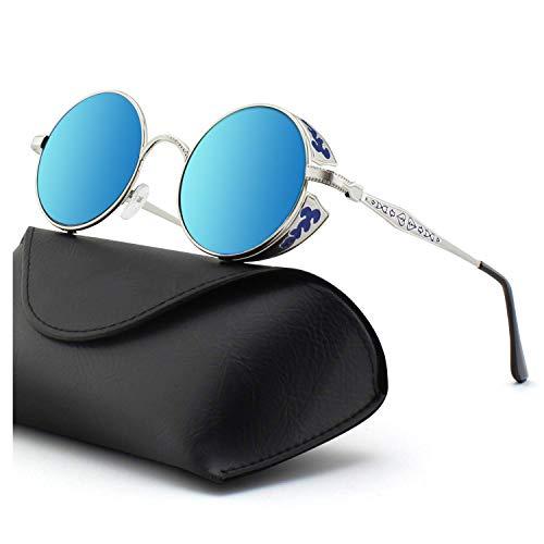 DL-forever Retro Sonnenbrille im Steampunk Stil, runder Metallrahmen, polarisiert, für Frauen und Männer, UV400 (C Silber frame Blau lens)