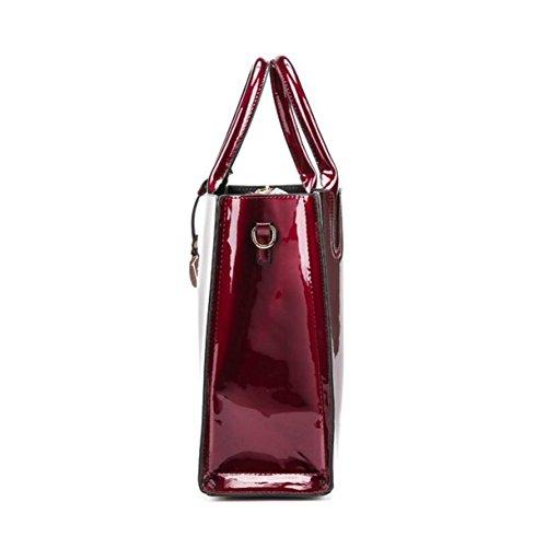 Damen Spiegel Helle Leder Handtasche Schultertasche Messenger Bag Handtaschen Nieten Blue