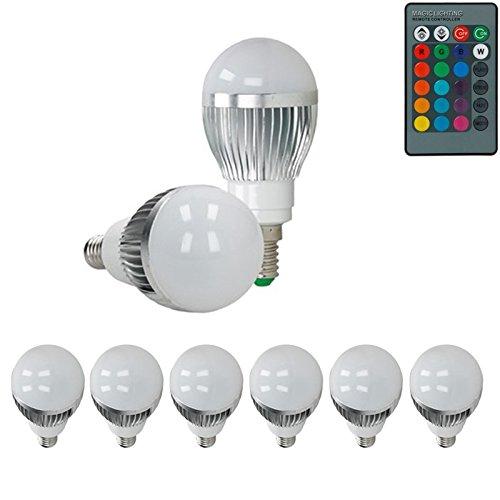 ECD Germany 6er Pack E14 3W LED RGB Birne AC 220-240V 250 Lumen 50 x 102 mm Dimmbar Lampe Leuchtmittel Leuchte mit IR-Fernbedienung 24 Tasten -
