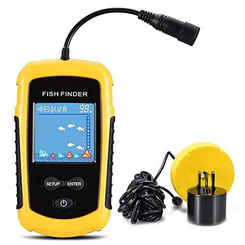 QYLT Tragbarer Wasserdicht Fishfinder, Angeln Sonar Sensor, Verkabelt LCD Tiefe Finder Echolot, für Boote, Seeufer und Eisfischen -