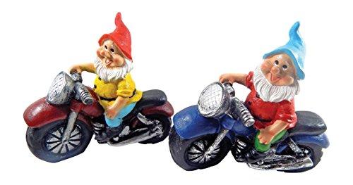 Gartenzwerg Motorrad Biker 2er Set bunt Keramik - 2 Kult Zwerge zu einem Preis (Gartenzwerg Biker)
