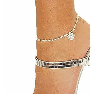 Damen Fußkette Fußkettchen silber mit glitzerden Kristallen viele Formen,super schön