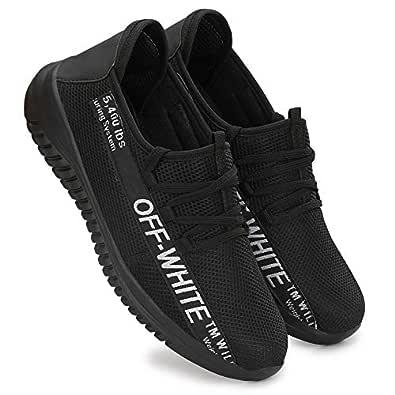 HEEDERIN Men's Black Comfortable Mesh Lace up Sport's/Running/Walking/Gym/Jogging/Unisex Shoe 6 UK