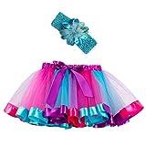 BURFLY Mädchen Party Dance Rock Ballett Prinzessin Kleid Baby Kostüm Leistung Tutu Rock + Stirnband Set(2Y-11Y)