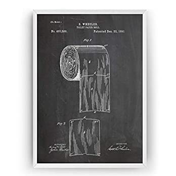 Toilet Roll 1891 Patent Poster – Vintage Bathroom Decor Print Art – Frame Not Included