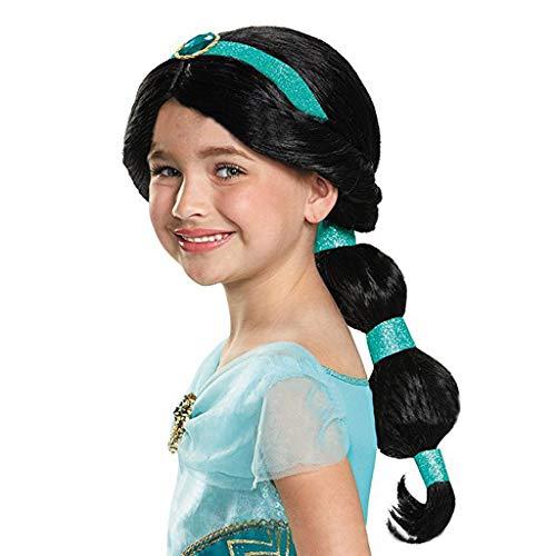 Mädchen Perücke, Mode Jasmin Prinzessin schwarz langes Haar Cosplay hochwertige Perücke