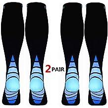 (2 Pares) Calcetines/Medias de compresión para Hombres y Mujeres Mejor