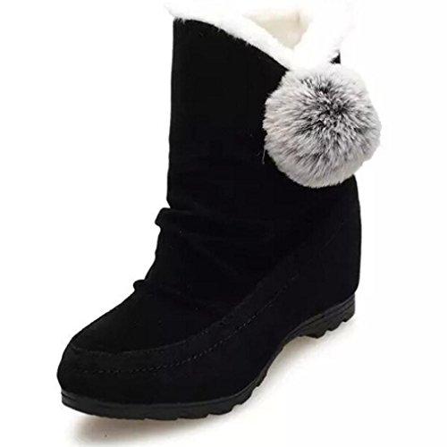Tefamore Zapatos Mujer de Ante Botas de Casual de Anti-deslizante de Suave Moda Otoño Invierno (EE.UU.: 6.5, Negro)