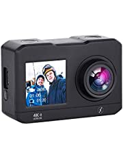 "Xmate Stunt Lite 16MP 4K WiFi Action Camera, 2"" HD Display Selfie Enabled, 30m Waterproof Case, 2.4G Remote & Mounting Accessories - (Black)"