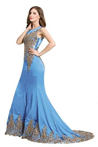 Beauty-Emily Transparent Zurück Sweep Tailing Meerjungfrau Ohne Arm Abend-Kleider Blau