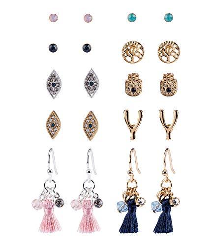 SIX Set aus 10 Paar Ohrringen, Stecker, Hänger, Strasssteine, Tassel, Hamsa-Hand, Auge, Baum, silber, gold, rosa, türkis, blau (784-158)