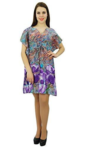 Phagun Kaftan Baumwolle Bohemian Abstract Printed Kaftan Kleid Short Maxi Nachtwäsche Mehrfarben