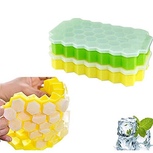 AOLVO Tiny Ice Cube Tablett Ständer 2Stück Crushed Ice Cube Tabletts mit Deckel Silikon Formen BPA-frei DIY Mini Ice für Getränke, Whiskey, Cocktail, Eiskaffee (blau grün) Square Ice