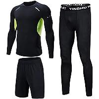 Shengwan 3 Piezas Ropa Deportiva Hombre Camiseta de Compresión Manga Larga + Pantalones de Compresión Mallas