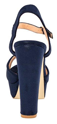 Elara Plateau Pumps | Bequeme Blockabsatz Schuhe | Wildlederoptik Blau