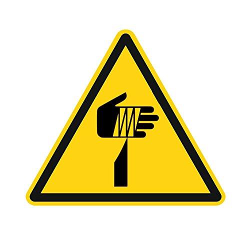 Warnzeichen W022 - Warnung vor spitzem Gegenstand - Aufkleber aus Folie - 50 mm - 250 Stück