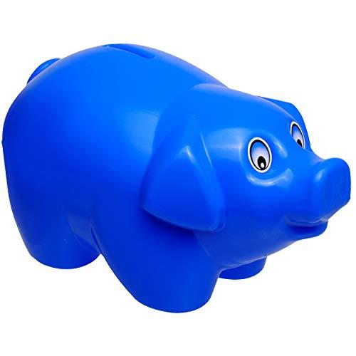 alles-meine.de GmbH 2 Stück _ große XL - Spardosen - Schwein - blau - 19 cm groß - stabile Sparbüchsen aus Kunststoff / Plastik - Sparschwein - Glücksbringer - für Kinder & Erwac..