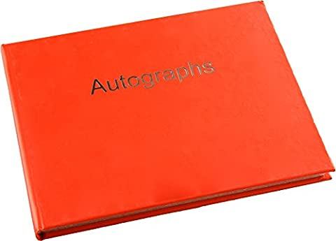 Autograph Book - Hardback - Silver Edged Pages - Red
