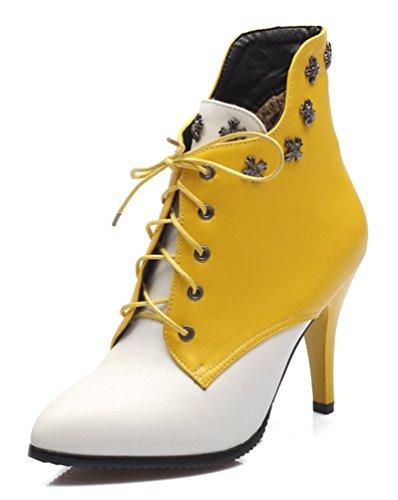 SHOWHOW Damen Nieten Spitz Zehen Schnürschuhe Kurzschaft Stiefel mit Absatz Gelb 38 EU