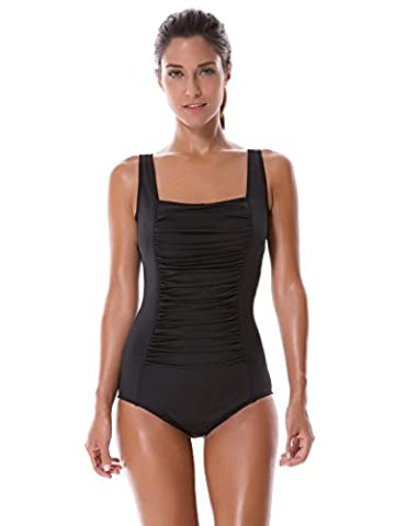 SYROKAN Women's Pleated Maillot Endurance Athletic Training One Piece Swimsuit Black 38 inch