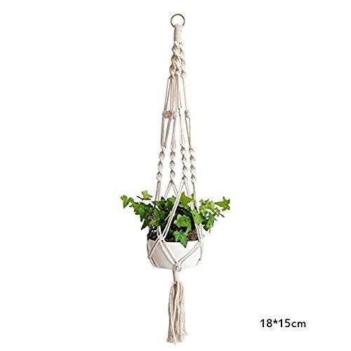 Hängeampel Blumentopf Pflanzenhalter Hängend Pflanzen Aufhänger Netztasche Pflanzenaufhänger Dekoration Garten Zimmer Blumentöpfe Seil für Spinne Pflanze Ivy Indoor Outdoor (M) ()
