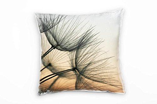 Paul Sinus Art Macro, Blumen, Orange, Grau, Pusteblume Deko Kissen 40x40cm für Couch Sofa Lounge...