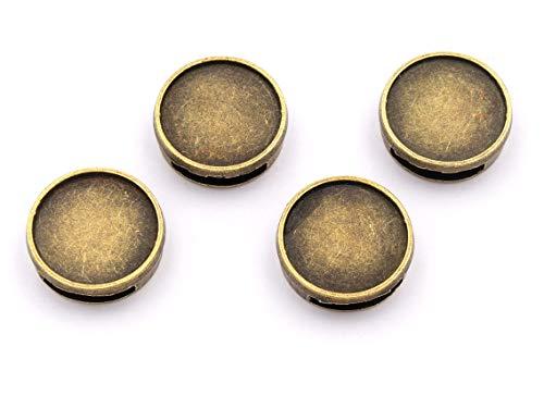Vintageparts DIY Schiebeperlen in antik bronzefarben für 14 mm Cabochons 4 Stück zum Schmuck selber Machen