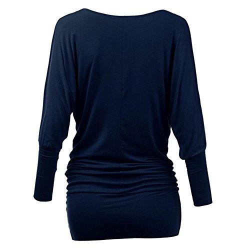 Femme Off Schoulder Top Longshirt Bat tunique couleur unie Mini robe à manches longues chauve-souris chemise bureau travail Casual Party Dress Blouses doux confortable 16 couleurs S-2XL bleu A