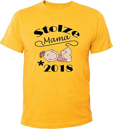Mister Merchandise Herren Men T-Shirt Stolze Mama - 2018 Tee Shirt bedruckt Gelb