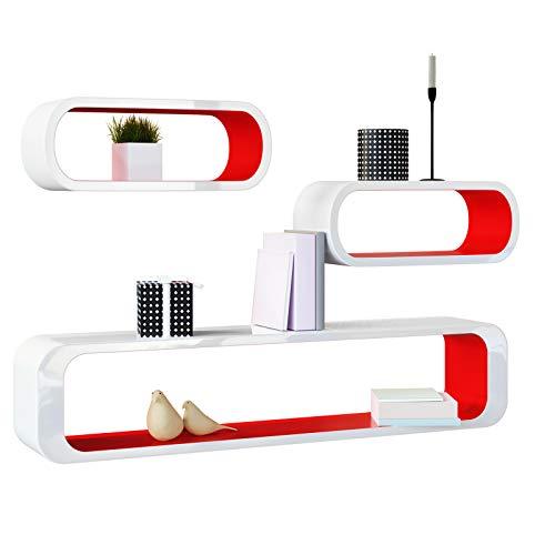Deuba set di 3 mensole moderne da parete in stile retrò bianco/rosso - mobile