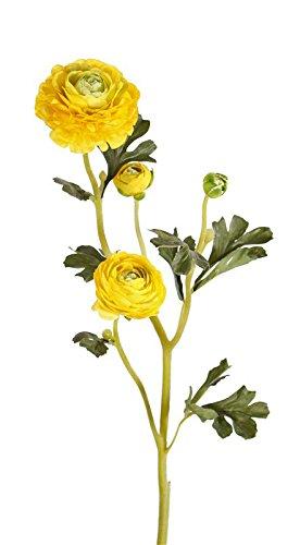 artplants Kunst Ranunkel Noemie mit 3 Blüten, gelb, 65 cm, Ø 4-8 cm – Künstliche Blume/Plastik Blume