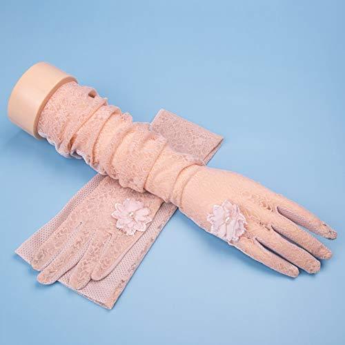 Houlian shop-Handschuh Handschuhe Damen Sommer Sonnencreme Handschuhe lange fünf Finger dünne Spitze Eis Seide Sonnencreme Manschette Anti-UV Elektroauto fahren (Bohnensand, Grau, Beige, Rosa, Weiß) H
