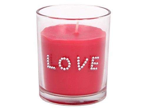 Bougie parfumée (Alsino 100774) coulée dans son verre transparant avec l'inscription 'LOVE' en strass paillette le parfum rose est puissant Longue durée de combustion idée cadeau romantique pas ch