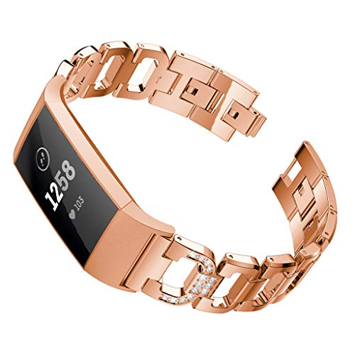 Omiky® D Word Metallarmbänder Austauschbare verstellbare Riemen Kristall für Fitbit Charge 3 Justierbares Ersatz Bügel Armband Ersatzarmband (Roségold) - Fitbit-armband Faltschließe