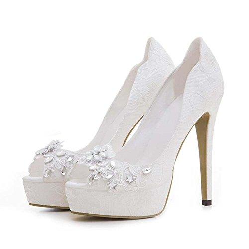 Donne pompa 12cm a spillo 3cm spessa piattaforma Peep toe scarpe da sposa scarpe da sera affascinante strass pizzo colore puro corte scarpe partito scarpe Eu taglia 33-43 ( Color : Bianca , Dimensione : 40 )